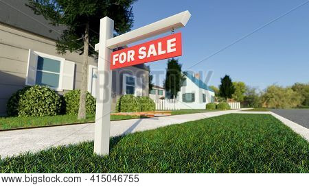 Real Estate Sign In Front Of A House For Sale In A Nice Suburban Neighborhood. Digital 3d Rendering.