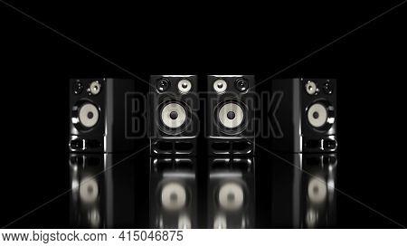 High Fidelity Professional Loudspeakers On Black Background. Digital 3d Rendering.