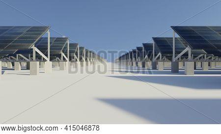 Array Of Solar Energy Panels. Clean Energy, Modern Technology Concept. Digital 3d Rendering.