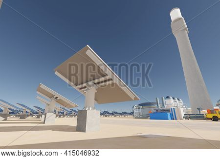Solar Collectors In A Solar Thermal Energy Plant. Clean Energy, Modern Technology Concept. Digital 3