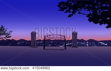 A Panoramic Image Of A Landscape Consisting Of An Image Of A Bench On A Hill Above The Evening City
