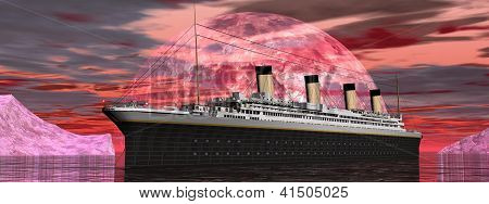 Titanic Boat By Sunset - 3D Render