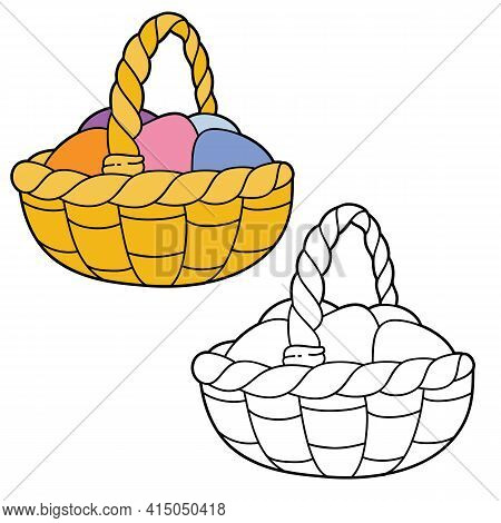 Vector Illustration Coloring Page With Cartoon Easter Eggs For Children, Coloring And Scrap Book, Pr