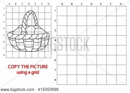Vector Illustration Of Educational Grid Copy Puzzle With Cartoon Character For Children