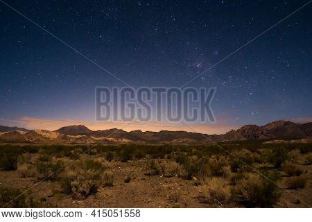Starry Night Sky Above The Desert Near Uspallata, Mendoza, Argentina.