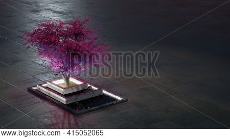 Purple Tree In A Zen-like Marble Bed. Fantasy Background With Large Negative Space. Digital 3d Rende
