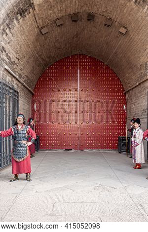 Xian, China - April 30, 2010: Ceremony At North Gate Of Shuncheng City Wall. Dressed-up Performers A