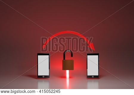 Vulnerable, Unencrypted Connection Between Mobile Devices, Concept. Two Smartphones With Red Arrow A