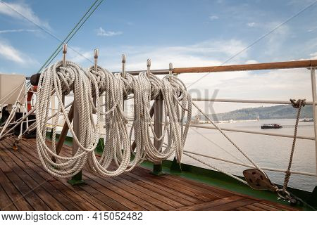 Ropes On An Old Vessel, Sailing In The Sea