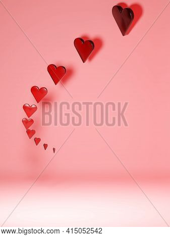 Love, Affection, Concept Background. Floating Translucent Red Hearts On Pink Background With Large N