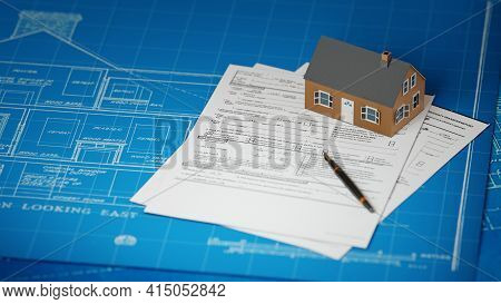 Real Estate Business, House Building Concept. Suburban House Model With Blueprints And Legal Papers.