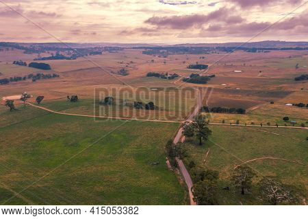 Aerial View Of Of Green Farmland In The Central Tablelands In Regional New South Wales In Australia