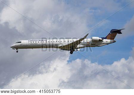 Munich, Germany - July 11, 2017: Lufthansa Regional Cityline Bombardier Crj-900 D-acnv Passenger Pla