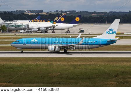Munich, Germany - July 11, 2017: Klm Royal Dutch Airlines Boeing 737-800 Ph-bxb Passenger Plane Arri
