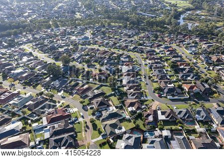 Aerial View Of Residential Houses In The Suburb Of Glenmore Park In Greater Sydney In New South Wale