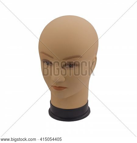 Mannequin Full Face Of Head Of Young White Woman Without Hair, Isolated On White. Shop Concept, Sale
