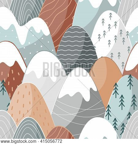 Seamless Pattern With Doodle Mountains In Scandinavian Style. Decorative Landscape Background. Cute