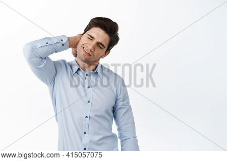 Corporate Man, Office Employee Massage Neck, Having Back Pain, Grimacing From Painful Discomfort, St