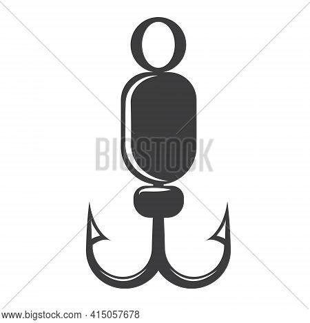 Fishing Hook Silhouette. Vector Illustration Of Fishing Hook Icon. Fishing Bait. Great For Fishing S