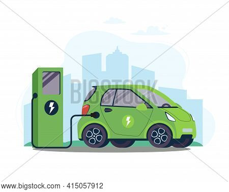 Battery Ev Vehicle Plugged And Getting Electricity From Renewable Power Generations. Vehicle Being C