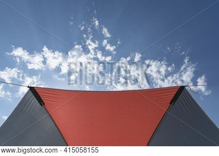 Orange And Grey Sun Umbrella Protects From Sun Light And Sunrays And Creates Sunshade, Bright Blue S