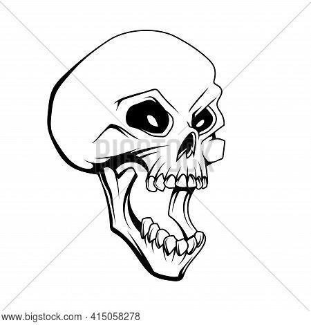 Skull Open Mouth Drawing. Emblem Tattoo Skull. Halloween. Retro Human Skull And Jaw. Vector Graphics
