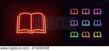 Neon Open Book Icon. Glowing Neon Book Sign, Outline Textbook Silhouette In Vivid Colors. Online Boo