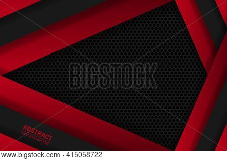 Dark Red Trendy Abstract Background With Carbon Fiber And Geometric Shapes. Black Carbon Textured Pa