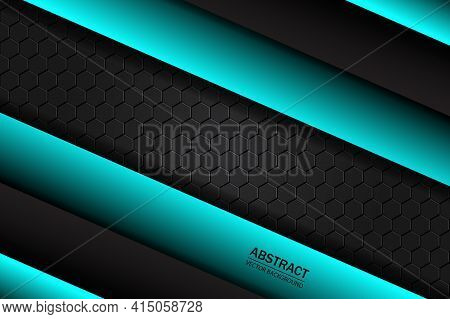 Black Carbon Fiber Covered With Metal Plates. Black And Turquoise Geometric Shapes On A Black Hexago