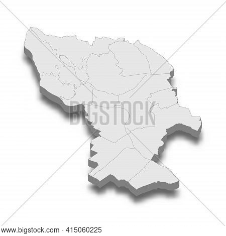 3d Isometric Map Of Bratislava City Is A Capital Of Slovakia