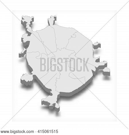 3d Isometric Map Of Moscow City Is A Capital Of Russia, Vector Illustration