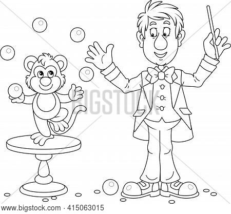 Funny Circus Animal Trainer With His Small Monkey Juggling With Balls In A Performance, Black And Wh