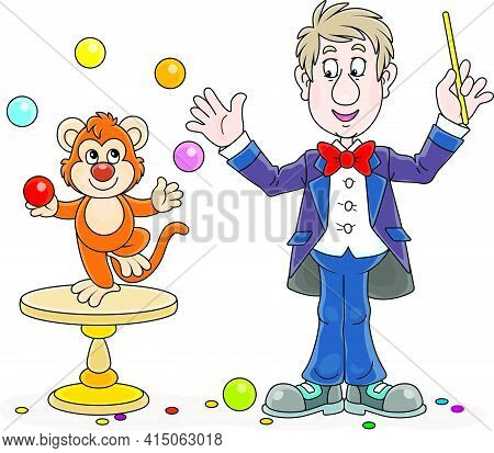 Funny Circus Animal Trainer With His Small Monkey Juggling With Color Balls, Vector Cartoon Illustra