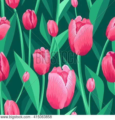 Tulip Seamless Pattern. Green, Turquoise Background And Pink Tulips With Green Leaves. Vector Illust