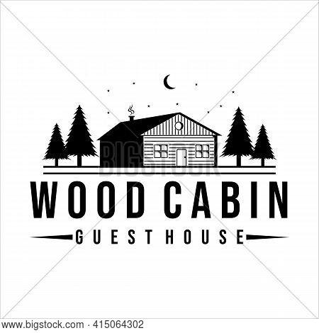 Wood Cabin Or Cottage Logo Vintage Vector Illustration Design. Guest House For Tourism Or Traveler L