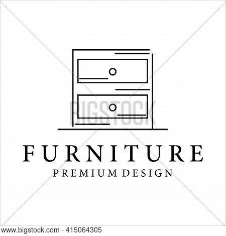 Furniture Minimalist Line Art Vector Illustration Template Design . Drawer Or Cupboard Logo Design M