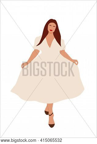 Abstract Portrait Of Plus Size Woman In Stylish Looks. Curvy Faceless Females Standing And Poses In