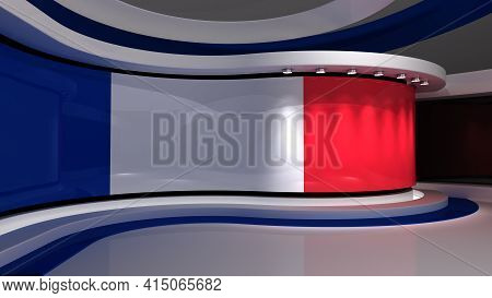 France Flag . Tv Studio. France Flag Background. France Flag Studio. News Studio. The Perfect Backdr