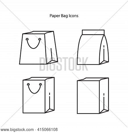 Paper Bag Icon Isolated On White Background. Paper Bag Icon Trendy And Modern Paper Bag Symbol For L