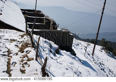 Picture Of Mountain Covered In Snow In Himachal Pradesh, India.