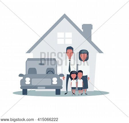 Insurance Home House Life Car Protection. Protect Concepts. Family Infront Of House With Car. Cartoo
