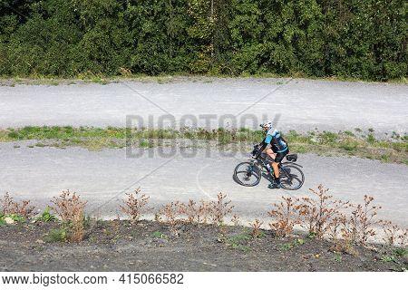 Gelsenkirchen, Germany - September 17, 2020: Cyclists Visit Repurposed Recreation Area Of  Rheinelbe