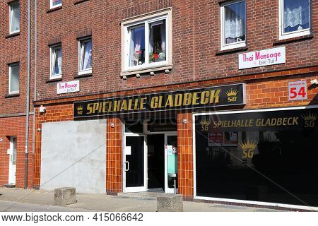 Gladbeck, Germany - September 20, 2020: Spielhalle Gambling Arcade In Germany. In 2018 Almost 9,000