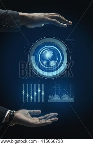 Business Infographics Hologram Made By Hands. High Quality And Resolution Beautiful Photo Concept