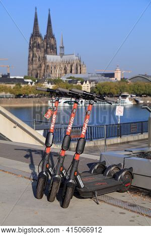 Cologne, Germany - September 21, 2020: Spin Brand Electric Scooters For Rental In Cologne, Germany.