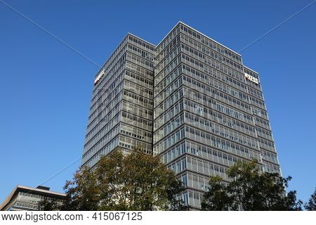 Cologne, Germany - September 22, 2020: Lanxess Chemical Company Head Office In Cologne City, Germany
