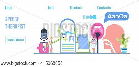Speech Therapist, Defectology For Online Consultation Concept Vector. Family Doctor For Remote And D