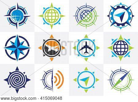 Compass Logo Icon Set, Modern Navigation Sign Symbol