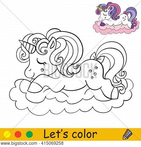 Cute Unicorn Slipping On A Cloud. Coloring Book Page With Colorful Template. Vector Cartoon Isolated