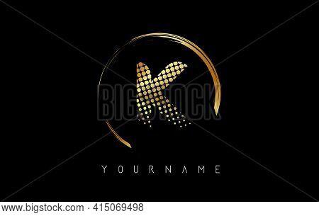 Golden K Letter Logo Design With Golden Dots And Circle Frame On Black Background. Creative Vector I
